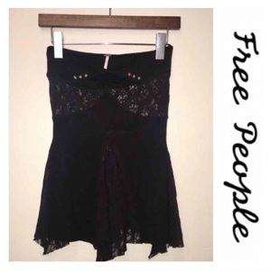 Free People • Black Lace Strapless Top